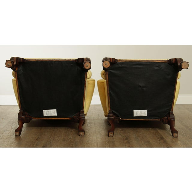 Wood Ardsley Hall Fine Chippendale Style Ball & Claw Mahogany Pair Library Armchairs For Sale - Image 7 of 13