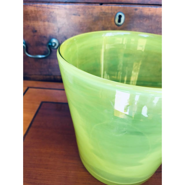 Art Glass Ice Bucket in Citron For Sale - Image 6 of 11