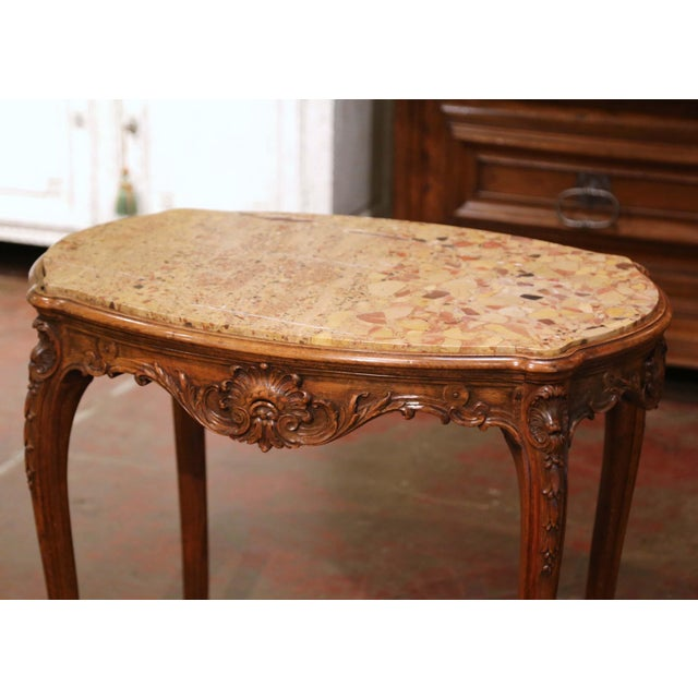 French 19th Century French Louis XV Carved Oak Side Table With Beige Marble Top For Sale - Image 3 of 13