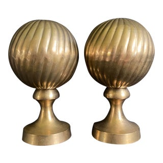 1970s Vintage Art Deco Brass Orb Swirl Bookends For Sale