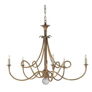 Visual Comfort Double Twist Brass Chandelier For Sale