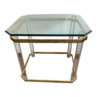 1970s Charles Hollis Jones Accent Table W/Lucite Legs & Glass Top For Sale