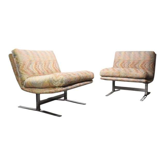 1970s Vintage Adrian Pearsall for Craft Associates Chrome Base Lounge Chairs- a Pair For Sale
