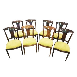 Set of 8 French Oak Early 20th-Century Reupholstered Yellow Dining Chairs For Sale