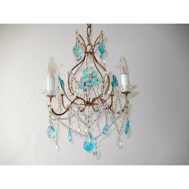1920 French Bagues Style Aqua Flowers Crystal Chandelier For Sale - Image 10 of 10