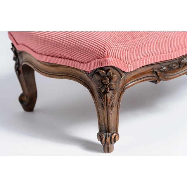 French Louis XV Footstool New Coral Upholstery 19Th C. For Sale In West Palm - Image 6 of 10