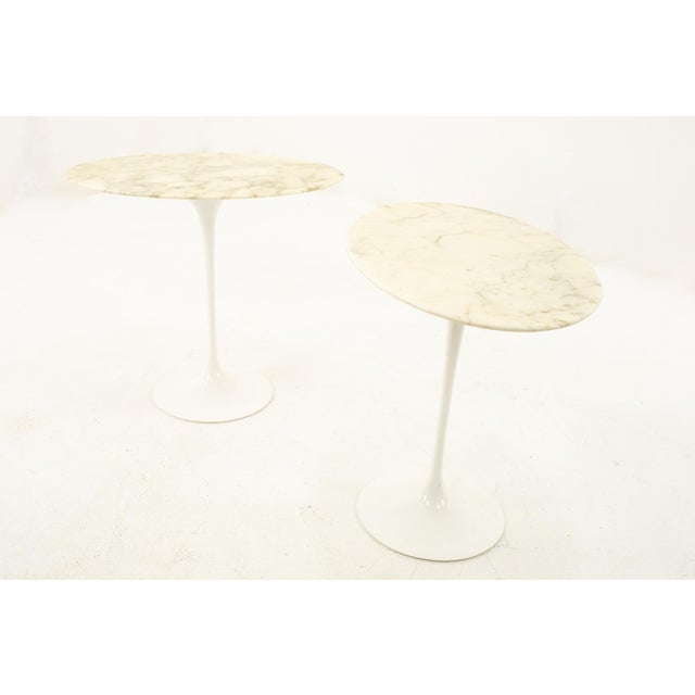 Mid-Century Modern Knoll Mid Century Oval Marble Top Side End Tables With Tulip Base - a Pair For Sale - Image 3 of 12