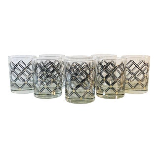 Black & Gold Diamond Old Fashioned Glass Tumblers, Set of 8 For Sale