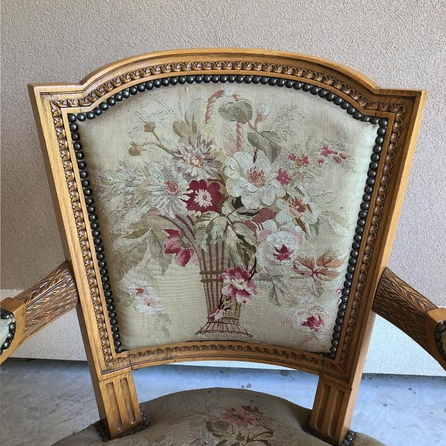 Pair of Louis XVI French Aubusson Tapestry Fruitwood Armchairs For Sale - Image 9 of 13