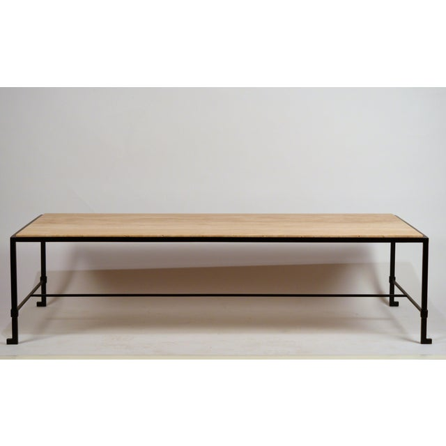 Metal Long 'Diagramme' Wrought Iron and Travertine Coffee Table by Design Frères For Sale - Image 7 of 7