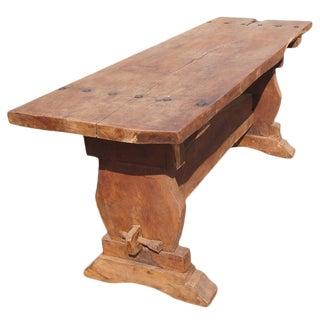 Rustic Mesquite Trestle Console Table For Sale