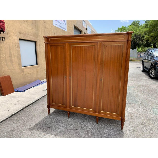 1910s 1910s French Louis XVI Antique Mahogany Armoire For Sale - Image 5 of 13