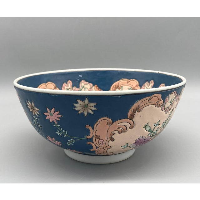 20th Century Chinese Blue and Pink Floral Bowl/ Catchall For Sale - Image 4 of 11