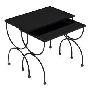 Art Deco Period Black Glass Nesting Tables - Set of 2 For Sale