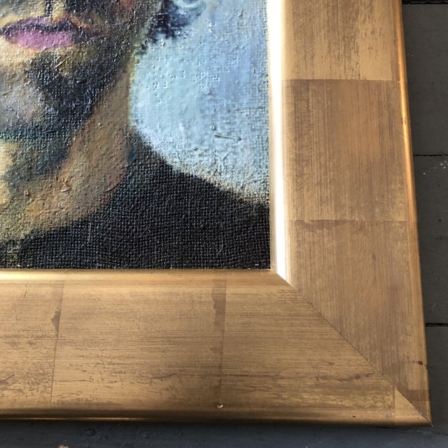 Contemporary Original Portrait Painting Young Man Gold Leaf Frame For Sale - Image 4 of 7