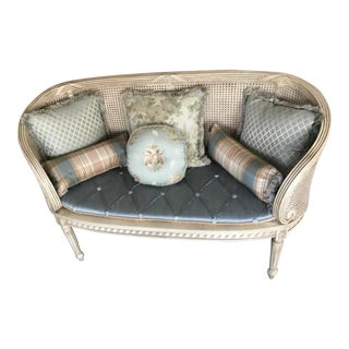French Mahogany and Cane Settee With Custom Tufted Cushion and Pillows For Sale