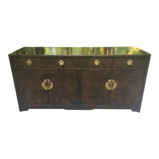 1970s Dark Burl Brass Campaign Style Chinoiserie Mid Century Credenza by Thomasville For Sale