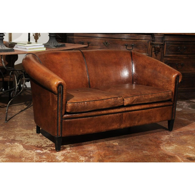 Brown French Turn of the Century Brown Leather Sofa with Nailhead Trim, circa 1900 For Sale - Image 8 of 12