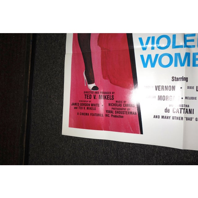 """1980s Vintage Movie Poster, Cult 'B' Movie """"10 Violent Women"""""""" Circa 1982. New. Rare. Wonderful Extra Campy Piece. No Others Like This One. For Sale - Image 5 of 9"""