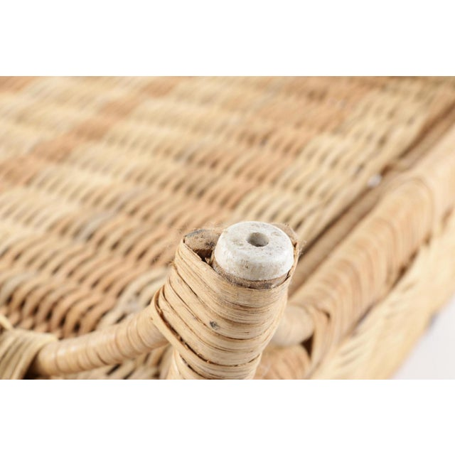 Vintage Wicker Picnic Basket Folding Chair For Sale - Image 12 of 13