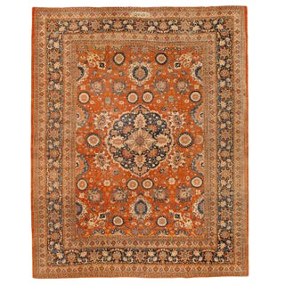 Exceptional Extremely Finely Woven Antique 19th Century Persian Tabriz Carpet For Sale