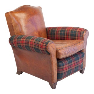 Small-Scale Club Chair in Leather and Tartan Plaid For Sale