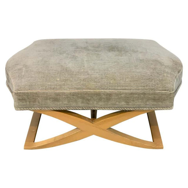 """Wood Angelo Donghia """"Versailles"""" Blonde Wood Bench/ Ottoman by John Hutton For Sale - Image 7 of 7"""
