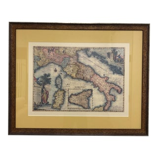 Custom Framed Lithograph of an Antique Map of Italy