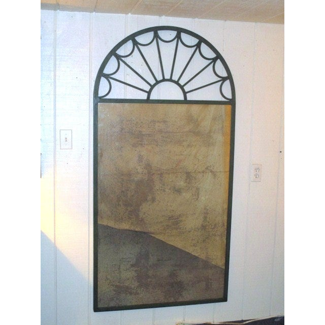 Large Mirror in Green Iron Frame - Image 2 of 5