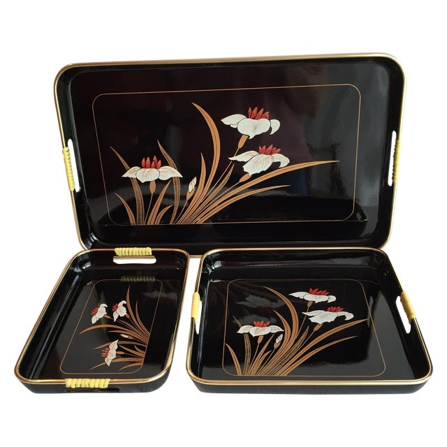Black Lacquered Trays - Set of 3 - Image 1 of 11