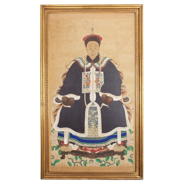 Late 19th Century Antique Chinese Ancestral Portrait Painting For Sale