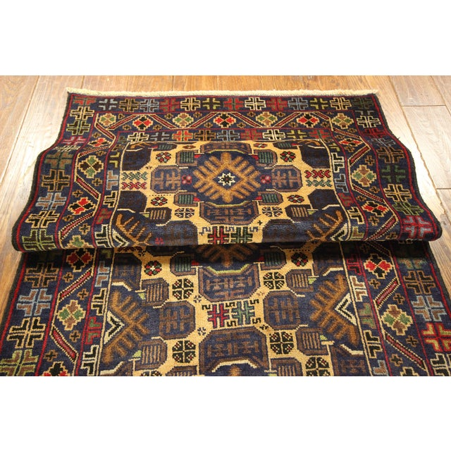 """Tribal Baluch Wool Runner Rug - 2'9"""" x 10' - Image 8 of 9"""