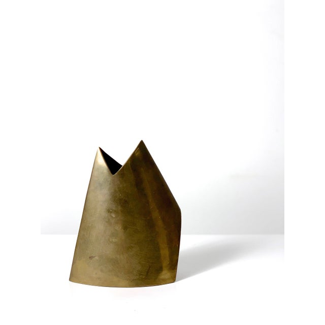 Vintage Modernist Brass Vase by James Johnston, Circa 1970's For Sale - Image 10 of 10
