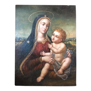 Religious Portrait Painting. Mother & Child