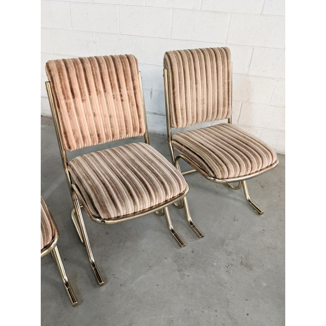 1970s 1970s Chromcraft Velvet & Brass Dining Chairs- Set of 4 For Sale - Image 5 of 12
