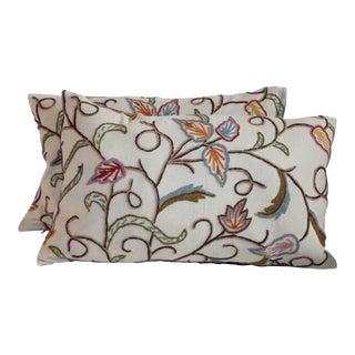 Crewel Work Bolster Pillows - A Pair For Sale