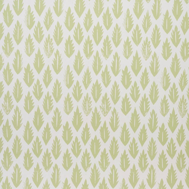 Sample - Schumacher x Molly Mahon Leaf Wallpaper in Grass Green For Sale