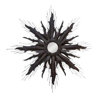 Blackened Brutalist Starburst Mirror For Sale