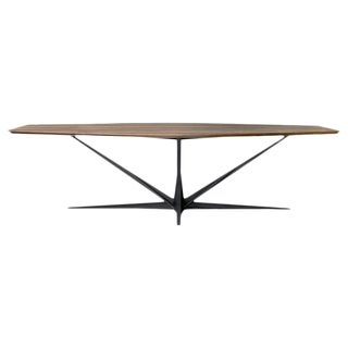 Agave Walnut and Blackened Steel Table by Atra For Sale