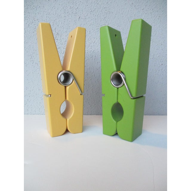 Pop Art Chartreuse & Yellow Clothespin Paperclips - a Pair For Sale - Image 9 of 9
