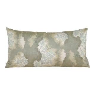 Abstract Botanical Japanese Silk Kasuri Kimono Bolster Pillow Cover