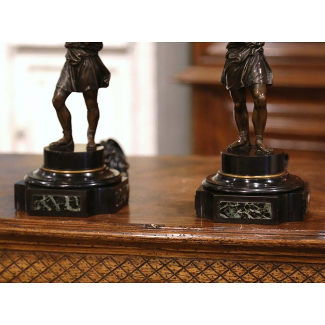 Pair of 19th Century French Patinated Bronze and Marble Figural Table Lamps For Sale In Dallas - Image 6 of 13