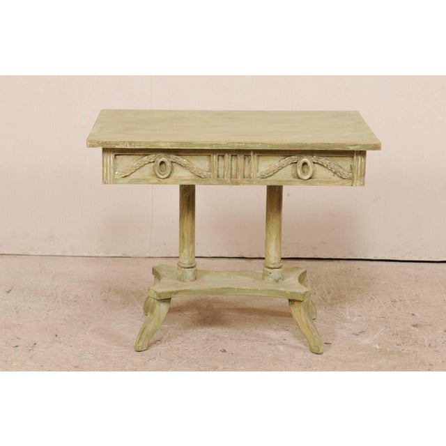 Mid-Century Modern Swedish 19th Century Neoclassical Painted and Carved Wood Lindome Style Table For Sale - Image 3 of 10