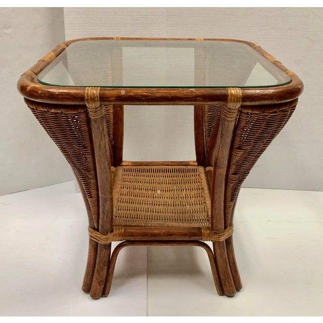 1940s Rattan and Wicker Side Table For Sale In Dallas - Image 6 of 12