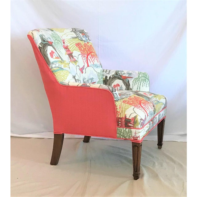 This exquisite linen Robert Allen chinoiserie toile has been paired with a matching coral linen for a show-stopper of a...