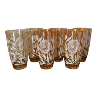 "1950s Jeannette's ""Late Sunflower"" Carnival Glasses - Set of 6 For Sale"