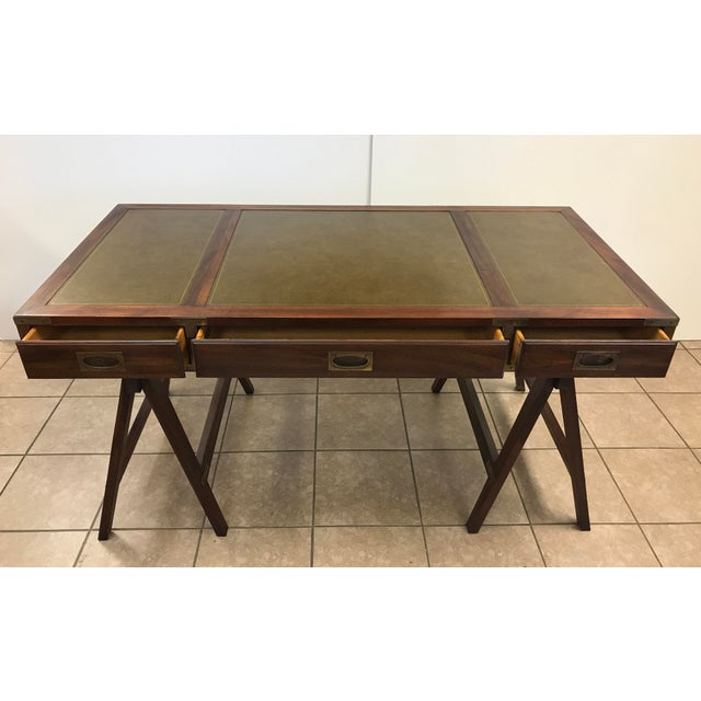 Metal Rosewood Campaign Desk with Leather Top For Sale - Image 7 of 9