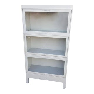 Storage Barrister Cabinet or Bookcase Three-Sections of Steel With Glass Fronts For Sale
