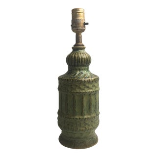 Vintage Green Drip Glaze Boho Ceramic Lamp For Sale