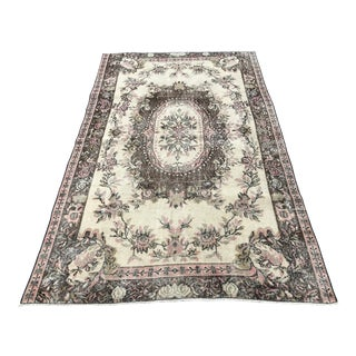 Oushak Anatolian Handwoven Tribal Rug - 5′1″ × 8′3″ For Sale